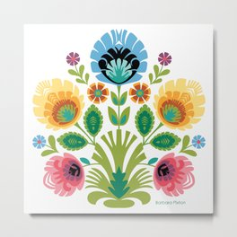 Polish Folk Flowers Pink and Yellow Metal Print