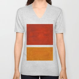 Burnt Orange Yellow Ochre Mid Century Modern Abstract Minimalist Rothko Color Field Squares Unisex V-Neck