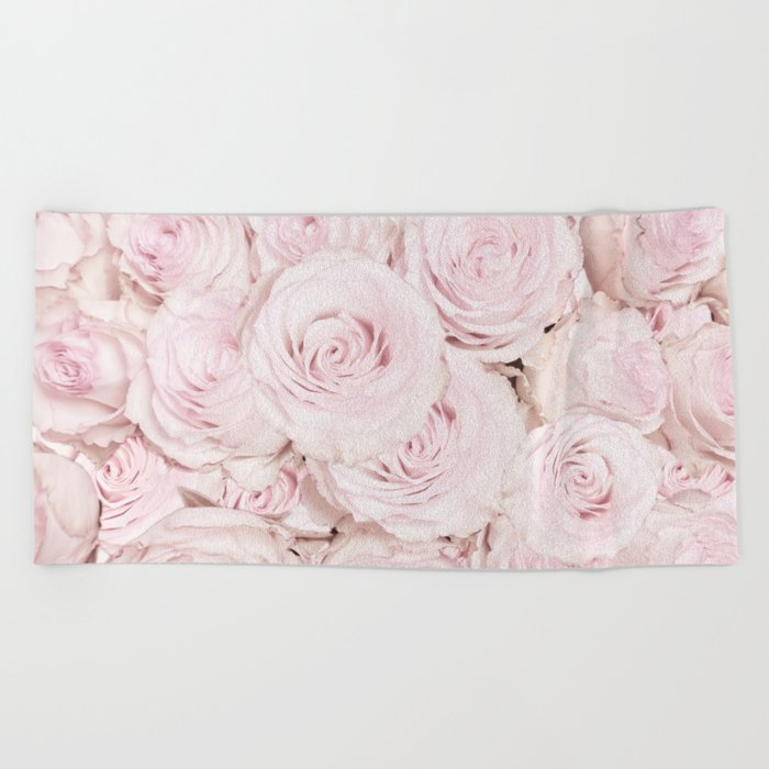 Roses have thorns- Floral Flower Pink Rose Flowers Beach Towel