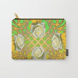 GOLDEN WHITE ROSE GARDEN TAPESTRY ART Carry-All Pouch
