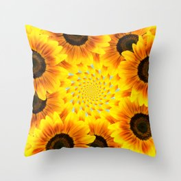 Spinning Sunflowers Throw Pillow