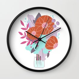 Bright Floral Bouquet Illustration // Stylized Art, Tiny Vase, Red, Turquoise and Lavender Wall Clock