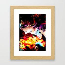 Neon hero of Explosion Framed Art Print