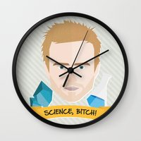 jesse pinkman Wall Clocks featuring Jesse Pinkman Breaking Bad by WreckThisGirl