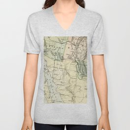 Vintage Map of the South West Of The United States Unisex V-Neck