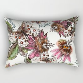 Tropical pattern with passionflower and butterlies Rectangular Pillow