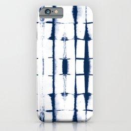 Shibori Stripes 4 Indigo Blue iPhone Case