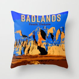 Visit Badlands Retro Postcard Throw Pillow