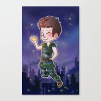 peter pan Canvas Prints featuring Peter Pan by Sunshunes