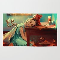 kindle Area & Throw Rugs featuring When she was six by Cyril ROLANDO