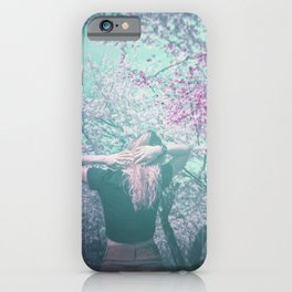 Double Exposure Girl in the Blooming Flowers - Holga Film Photograph iPhone Case