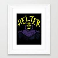 skeletor Framed Art Prints featuring Helter Skeletor by campkatie