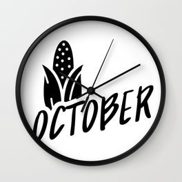 October Typography Corn on the Cob Wall Clock