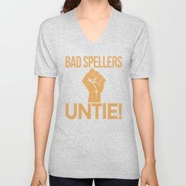 BAD SPELLERS UNTIE! (Red) Unisex V-Neck
