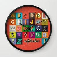 alphabet Wall Clocks featuring Alphabet by rob art | simple