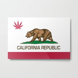 California Republic state flag with red Cannabis leaf Metal Print