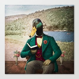 Monsieur Mallard Reading an Improving Book Canvas Print
