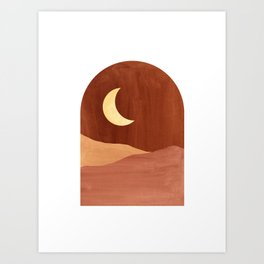 Terracotta night, abstract landscape, moon and desert Art Print