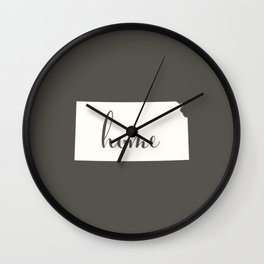 Kansas is Home - White on Charcoal Wall Clock