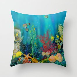 Undersea Art With Coral Throw Pillow