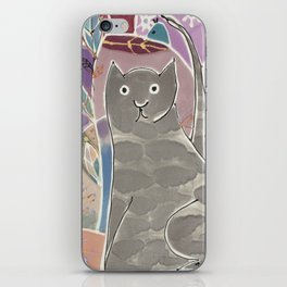 Abstract painting on silk with grey cat and bird. Original hand painted iPhone Skin