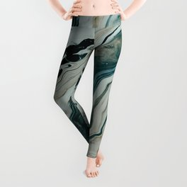 Tranquil Arctic Painting Marble Leggings