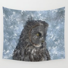Contemplation - Great Grey Owl Portrait Wall Tapestry