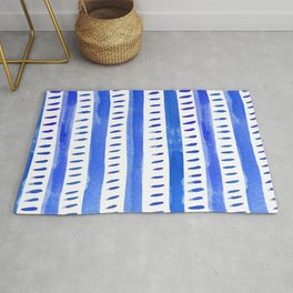 Watercolor lines - blue Rug