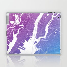 New York Map Print. Neon Pink and Blue Laptop & iPad Skin