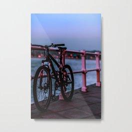 Bike in blue Metal Print