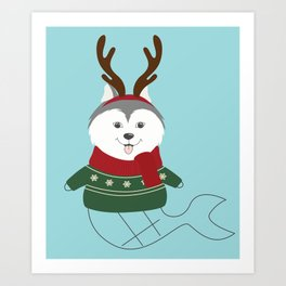 Happy Pet in Ugly Christmas Sweaters Art Print