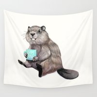 beaver Wall Tapestries featuring Dam Fine Coffee by Laura Graves