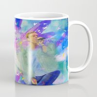 coldplay Mugs featuring Chris Martin-Coldplay-Digital Impressionism by Sophie Grace