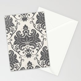 Luxury Floral Damask Pattern – Neutral Dark Gray and Cream Stationery Cards