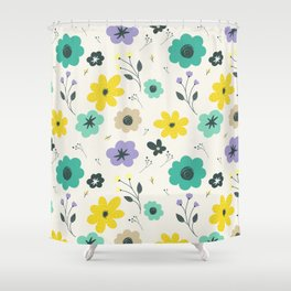 Modern ivory lime green teal violet floral illustration Shower Curtain