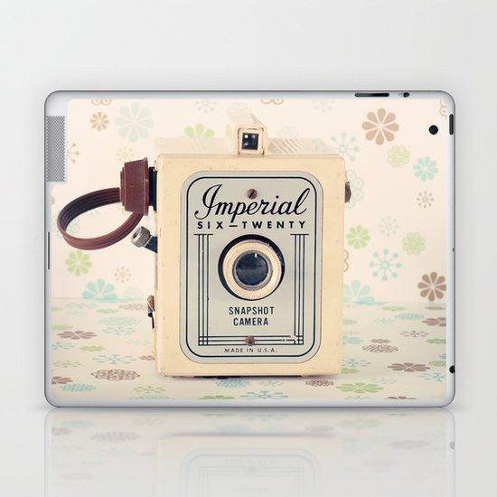 Retro Film Camera on Beige - Cream Pattern Background  Laptop & iPad Skin