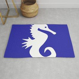 Seahorse (White & Navy Blue) Rug