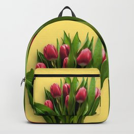 Yellow Bright Light Amber Pink Tulip Blossoms Flatlay Backpack