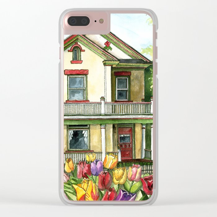 Farmhouse with Spring Tulips Clear iPhone Case