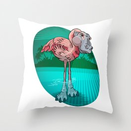Mutant Zoo - Flamingopotamus Throw Pillow