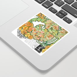 Romance in Paris, Art Nouveau Floral Nostalgia Sticker