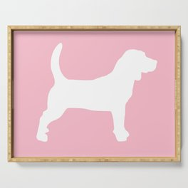 Pink Pastel Beagle Silhouette Serving Tray