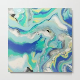 Blue & Yellow Marble Ocean Minimalist Pour Painting Metal Print