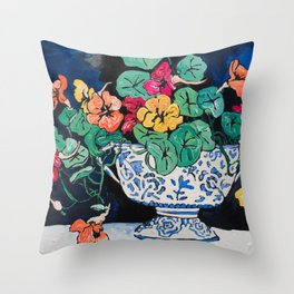 Nasturtium Bouquet in Chinoiserie Bowl on Dark Blue Floral Still Life Painting Throw Pillow