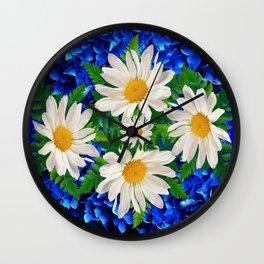 WHITE DAISY FLOWERS ON BLUE ART Wall Clock