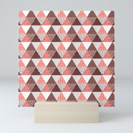 Triangle Quilt in Red Mini Art Print