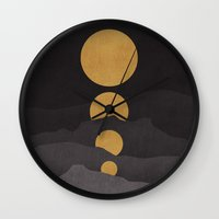 bright Wall Clocks featuring Rise of the golden moon by Picomodi