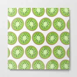 Kiwi Pattern  |  White Background Metal Print