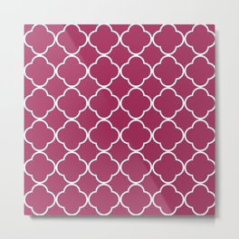 Quatrefoil Pink Metal Print