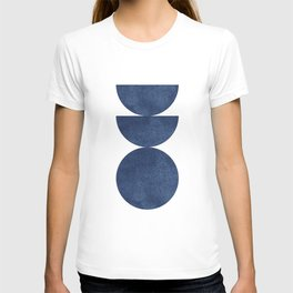 Woodblock navy blue Mid century modern T-shirt